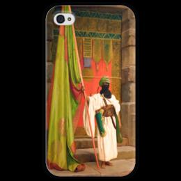 """Чехол для iPhone 4 глянцевый, с полной запечаткой """"Флаг Пророка (Жан-Леон Жером)"""" - картина, жером"""
