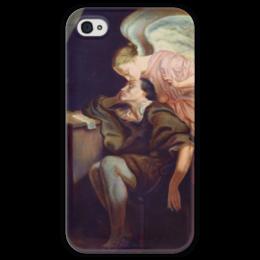"Чехол для iPhone 4 глянцевый, с полной запечаткой ""Поцелуй Музы"" - картина, сезанн"
