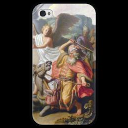 "Чехол для iPhone 4 глянцевый, с полной запечаткой ""Валаамова ослица (картина Рембрандта)"" - рембрандт, картина, библия, ветхий завет"