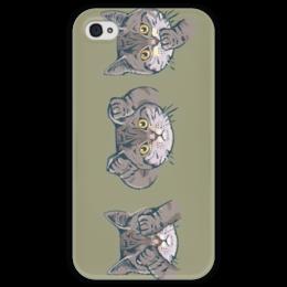 """Чехол для iPhone 4 глянцевый, с полной запечаткой """"Котик"""" - кот, смайл, глаза, уши, рот"""