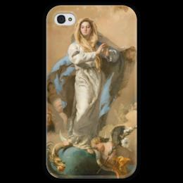 """Чехол для iPhone 4 глянцевый, с полной запечаткой """"Непорочное зачатие Девы Марии"""" - картина, тьеполо"""