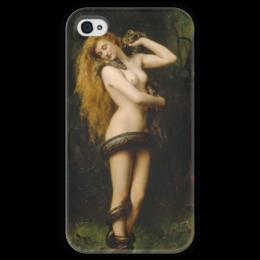 """Чехол для iPhone 4 глянцевый, с полной запечаткой """"Лилит (Джон Кольер)"""" - картина, кольер"""
