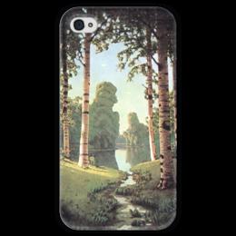 "Чехол для iPhone 4 глянцевый, с полной запечаткой ""Берёзовая роща (картина Архипа Куинджи)"" - картина, архип куинджи"