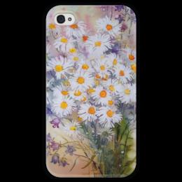 """Чехол для iPhone 4 глянцевый, с полной запечаткой """"Ромашки колокольчики"""" - цветы, ромашки, колокольчики, букет"""