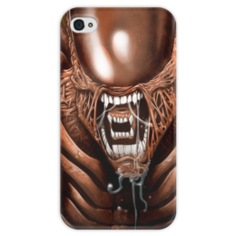 """Чехол для iPhone 4 глянцевый, с полной запечаткой """"Чужой"""" - хищник, alien, чужой, predator, алиен"""