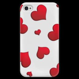 """Чехол для iPhone 4 глянцевый, с полной запечаткой """"Сердечки"""" - сердце, любовь, сердечки, красное"""