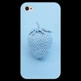 """Чехол для iPhone 4 глянцевый, с полной запечаткой """"Синяя клубника"""" - голубой, клубника, blue, strawberry"""