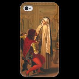 """Чехол для iPhone 4 глянцевый, с полной запечаткой """"Любовь или долг (Love or Duty)"""" - картина, кастаньола"""