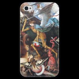 """Чехол для iPhone 4 глянцевый, с полной запечаткой """"Архангел Михаил"""" - картина, брейгель"""