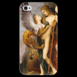 """Чехол для iPhone 4 глянцевый, с полной запечаткой """"Эдип и сфинкс (Гюстав Моро)"""" - картина, сюрреализм, миф, лувр, моро"""