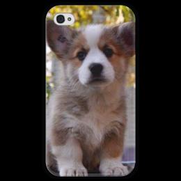 """Чехол для iPhone 4 глянцевый, с полной запечаткой """"Коржик"""" - dog, корги, pembrok"""
