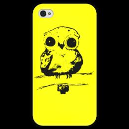 """Чехол для iPhone 4 глянцевый, с полной запечаткой """"Лесной житель"""" - дети, детское, ручная работа, детский рисунок, детская работа"""