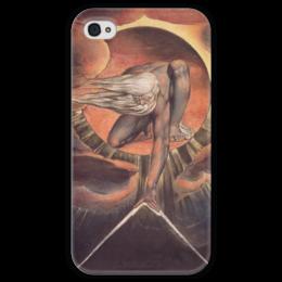 """Чехол для iPhone 4 глянцевый, с полной запечаткой """"Великий архитектор (Ветхий днями)"""" - картина, гравюра, блейк"""