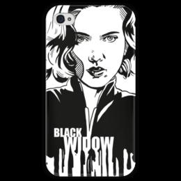 """Чехол для iPhone 4 глянцевый, с полной запечаткой """"Черная вдова"""" - комиксы, мстители, avengers, марвел, black widow"""