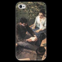 """Чехол для iPhone 4 глянцевый, с полной запечаткой """"В лодке (картина Коровина)"""" - картина, коровин"""