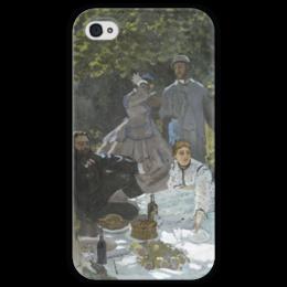"Чехол для iPhone 4 глянцевый, с полной запечаткой ""Завтрак на траве (Клод Моне) 1866"" - картина, моне"