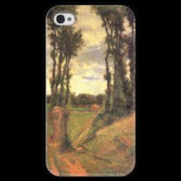 """Чехол для iPhone 4 глянцевый, с полной запечаткой """"Тополя, Осни"""" - картина, поль гоген"""