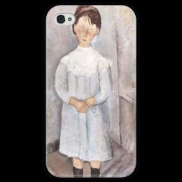"""Чехол для iPhone 4 глянцевый, с полной запечаткой """"Девочка в голубом платье"""" - картина, модильяни"""