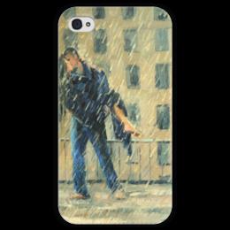 "Чехол для iPhone 4 глянцевый, с полной запечаткой ""Поцелуй под дождем! Funny Smile"" - любовь, kiss, love, поцелуй"