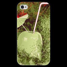 """Чехол для iPhone 4 глянцевый, с полной запечаткой """"Яблочный микс"""" - напиток, абстракция, яблоко, фрукт, натюрморт"""