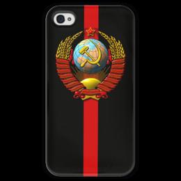 """Чехол для iPhone 4 глянцевый, с полной запечаткой """"СССР!"""" - ссср, oldschool, кпсс"""