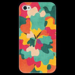 """Чехол для iPhone 4 глянцевый, с полной запечаткой """"Цветочный камуфляж"""" - арт, camo, camouflage, floral"""