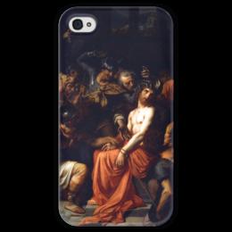 """Чехол для iPhone 4 глянцевый, с полной запечаткой """"Поругание Христа (Картина Кабанеля)"""" - картина, кабанель"""