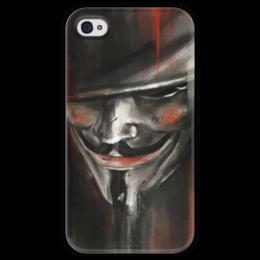 """Чехол для iPhone 4 глянцевый, с полной запечаткой """"V for Vendetta"""" - комиксы, dc comics, гай фокс, вендетта, vertigo"""