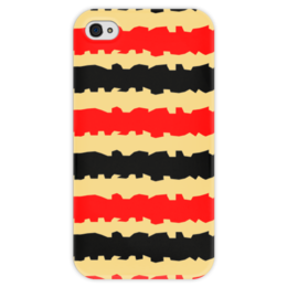"""Чехол для iPhone 4 глянцевый, с полной запечаткой """"Полоски с рванными краями"""" - полоска, черный, красный, бежевый, рванный"""