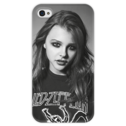 "Чехол для iPhone 4 глянцевый, с полной запечаткой ""Хлоя Морец/черно-белый"" - стиль, хлоя морец, chloë moretz, black n white"