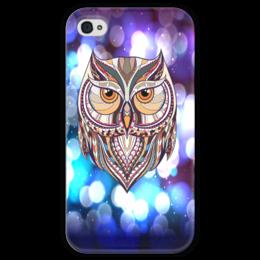 """Чехол для iPhone 4 глянцевый, с полной запечаткой """"Сова в красках"""" - узор, птицы, краски, сова, совы"""