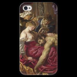 "Чехол для iPhone 4 глянцевый, с полной запечаткой ""Самсон и Далила (картина Питера Пауля Рубенса)"" - картина, библия, рубенс"