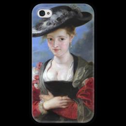 """Чехол для iPhone 4 глянцевый, с полной запечаткой """"Свояченица Сусанна («Соломенная шляпка»)"""" - картина, рубенс"""