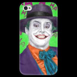 """Чехол для iPhone 4 глянцевый, с полной запечаткой """"Джокер"""" - joker, комиксы, бэтмен, dc comics, джек николсон"""