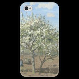 """Чехол для iPhone 4 глянцевый, с полной запечаткой """"Фруктовый сад в цвету"""" - картина, писсарро"""