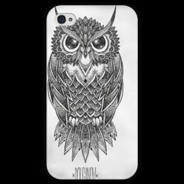 """Чехол для iPhone 4 глянцевый, с полной запечаткой """"Strige"""" - арт, сова, филин, owl"""