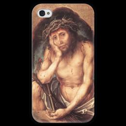 """Чехол для iPhone 4 глянцевый, с полной запечаткой """"Се, человек (Ecce Homo)"""" - картина, дюрер"""