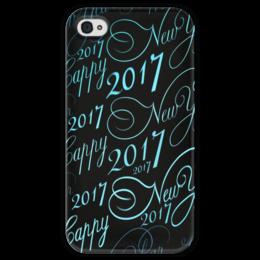 """Чехол для iPhone 4 глянцевый, с полной запечаткой """"New Year 2017"""" - новый год, надпись, поздравление, 2017, красивый шрифт"""