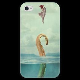 """Чехол для iPhone 4 глянцевый, с полной запечаткой """"sprut"""" - девушка, море, сон, осьминог, спрут"""