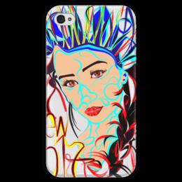 """Чехол для iPhone 4 глянцевый, с полной запечаткой """"Снегурочка New 2017"""" - снегурочка"""