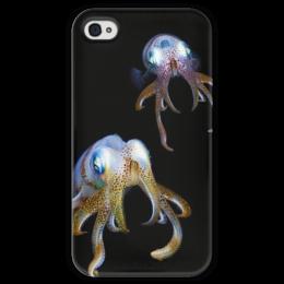 "Чехол для iPhone 4 глянцевый, с полной запечаткой ""Кальмары"" - кальмары"