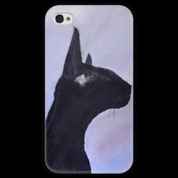 """Чехол для iPhone 4 глянцевый, с полной запечаткой """"Багира"""" - кошка, black, cat, коты, пантера, котики, багира"""