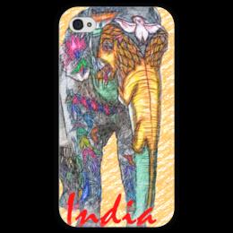 """Чехол для iPhone 4 глянцевый, с полной запечаткой """"Индийский слон"""" - слон, индия"""