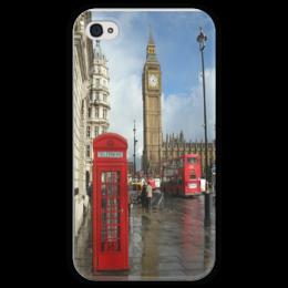 """Чехол для iPhone 4 глянцевый, с полной запечаткой """"Лондон"""" - london, uk, big ben, phone booth"""