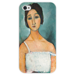 """Чехол для iPhone 4 глянцевый, с полной запечаткой """"Кристина"""" - картина, модильяни"""
