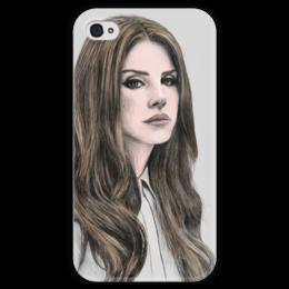 """Чехол для iPhone 4 глянцевый, с полной запечаткой """"Lana Del Rey"""" - музыка, music, фанарт, lana del rey, лана дель рей"""