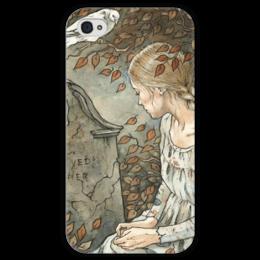 """Чехол для iPhone 4 глянцевый, с полной запечаткой """"Любимые всегда рядом"""" - девушка, dove, girl, голубь, осень"""