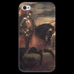 """Чехол для iPhone 4 глянцевый, с полной запечаткой """"Конный портрет Карла V (Тициан)"""" - картина, тициан"""