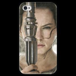 """Чехол для iPhone 4 глянцевый, с полной запечаткой """"Звездные войны - Рей"""" - звездные войны, кино, фантастика, дарт вейдер, star wars"""