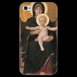"Чехол для iPhone 4 глянцевый, с полной запечаткой ""Мадонна (картина Бугро)"" - картина, бугро"